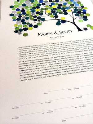 Modern Wedding Ketubah - Tree of Life Hebrew