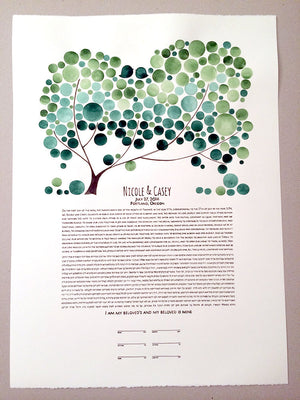 Modern Wedding Painted Ketubah - CHUPPAH TREE KETUBAH - The Bridal Canopy abstract minimalist painting Ketubah marriage contract