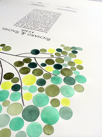 Painted Ketubah Watercolor - THE BRIDAL CANOPY - Tree of Life Design abstract minimalist painting Ketubah marriage contract