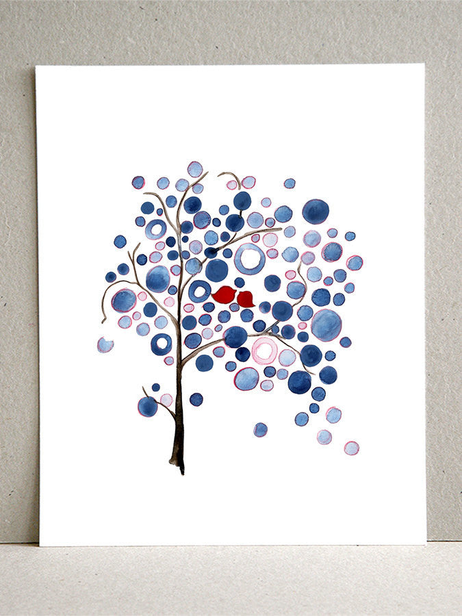 American Flag Tree - Giclee Art Print Reproduction of Watercolor Painting - Trees of Life Collection