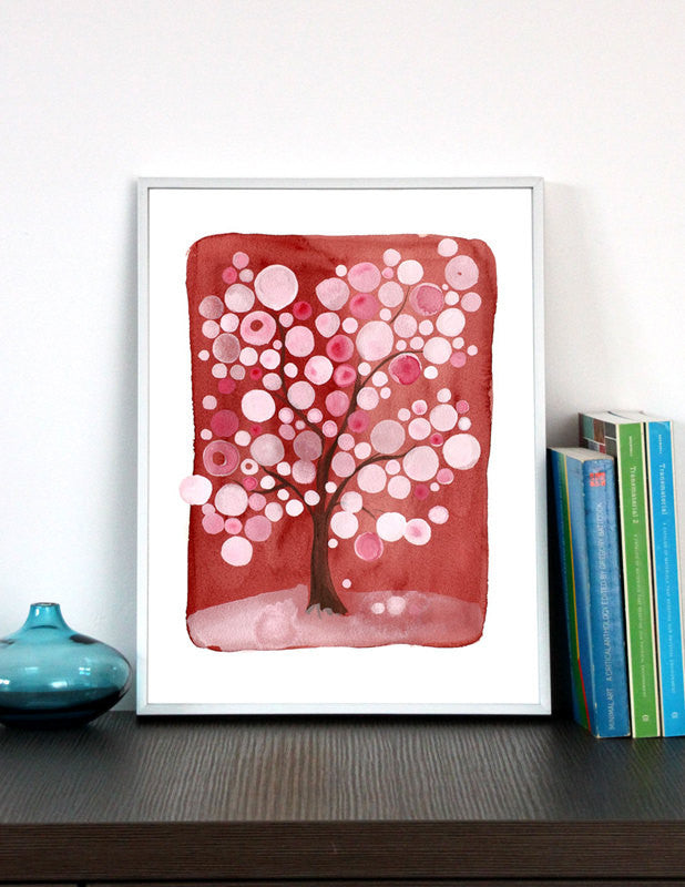 Wedding Gift Anniversary Gift - SAKURA MATSURI RED - Giclee Art Print Reproduction of Watercolor Painting - Trees of Life Collection