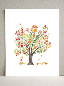 SPRING LOVE BIRDS TREE art print
