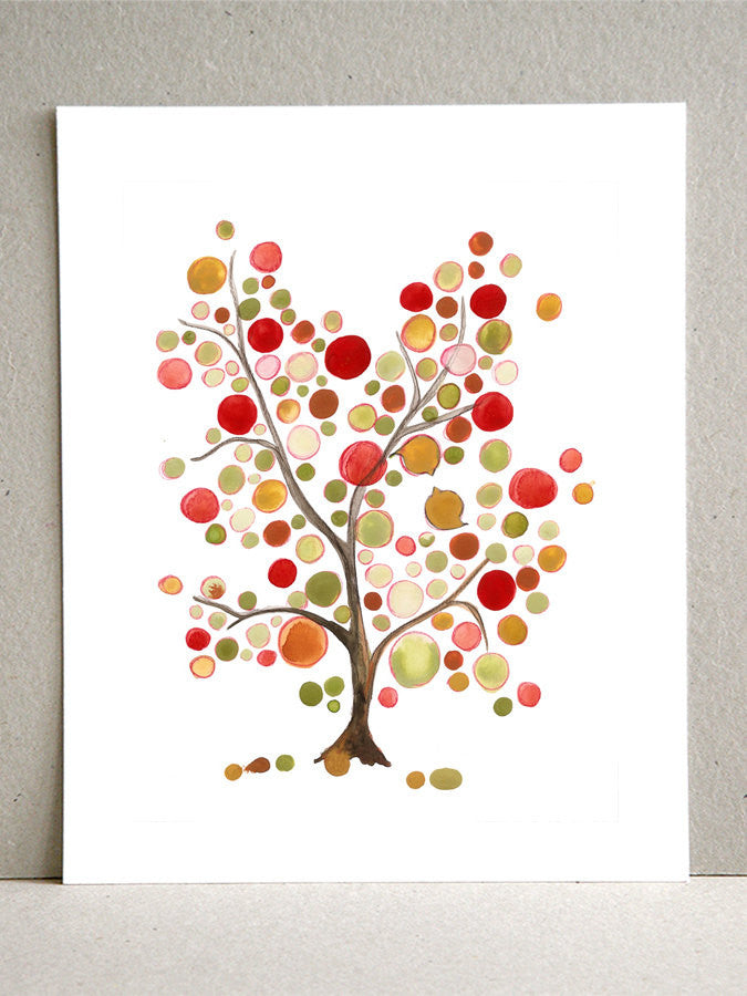 Happy Greens Tree - Giclee Art Print Reproduction of Watercolor Painting - Trees of Life Collection