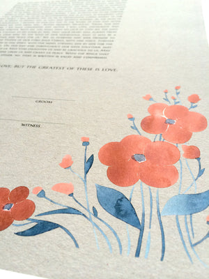 Modern Ketubah Summer Flowers giclee art print - Wedding Jewish Marriage Certificate Ketubah