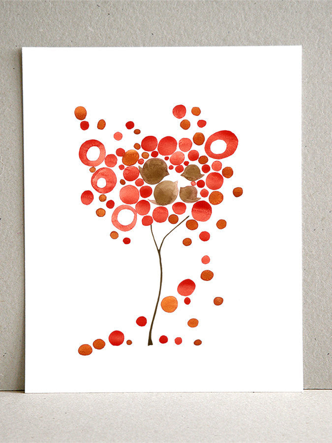 Red Dropping Tree  - Giclee Art Print Reproduction of Watercolor Painting - Trees of Life Collection