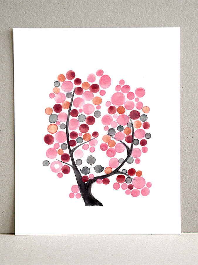 PINK GRAY TREE art print