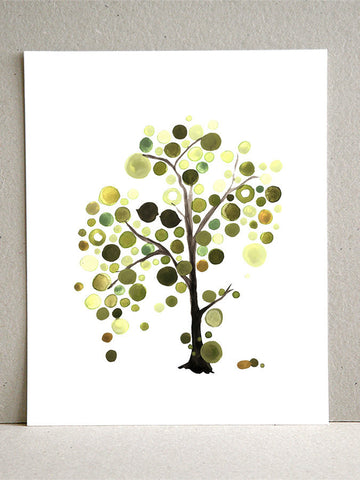 Asymmetrical Green Tree - Giclee Art Print Reproduction of Watercolor Painting - Trees of Life Collection