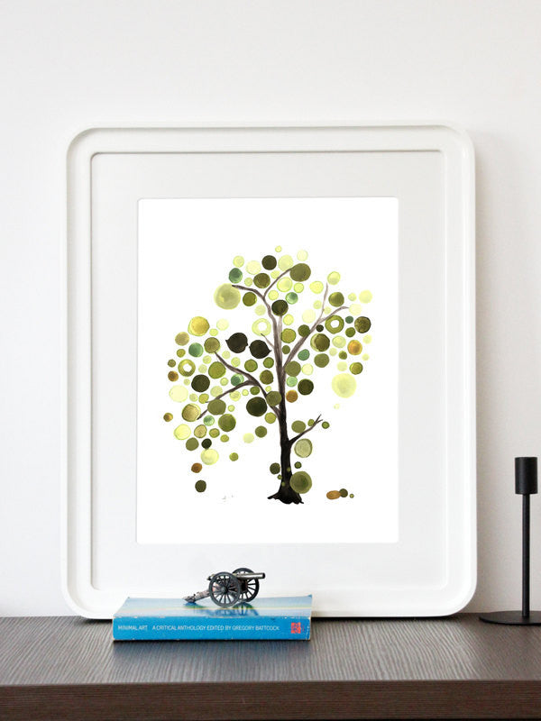 ASYMMETRICAL GREEN TREE art print