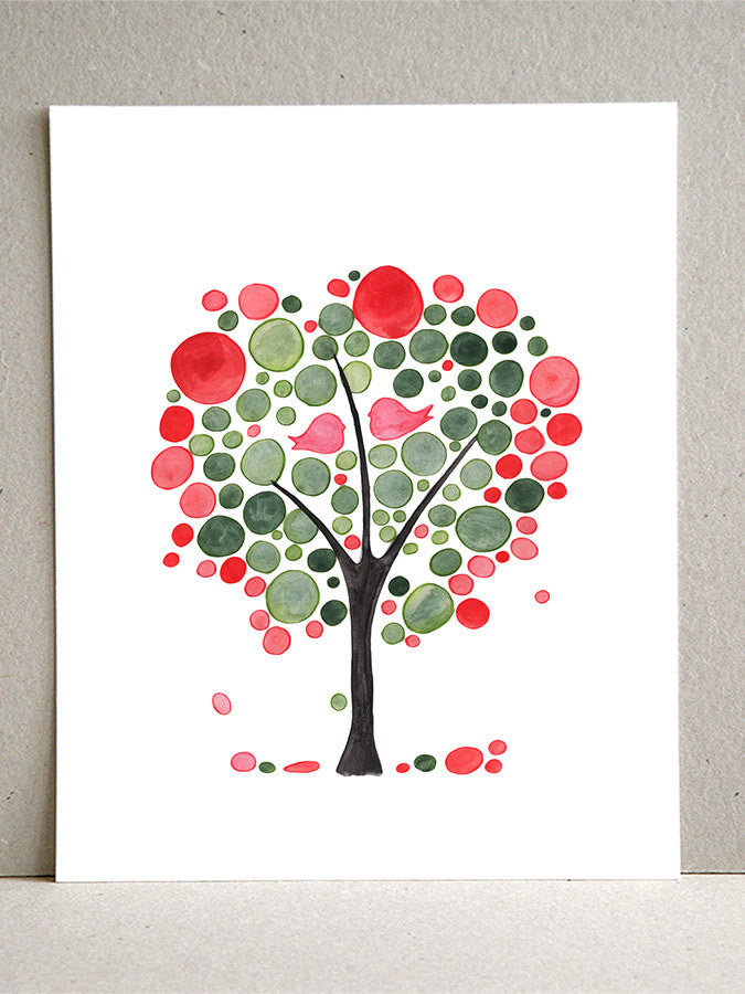 Red Green Love Birds Tree - Giclee Art Print Reproduction of Watercolor Painting - Trees of Life Collection