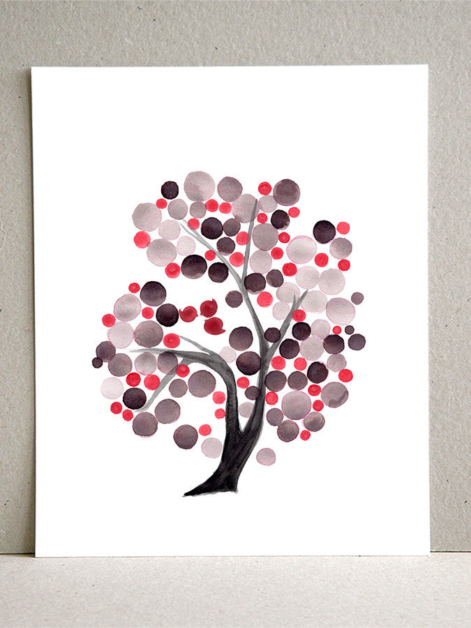 GRAY PINK TREE  - Giclee Art Print Reproduction of Watercolor Painting - Trees of Life Collection