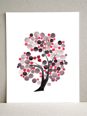 GRAY PINK TREE watercolor art print