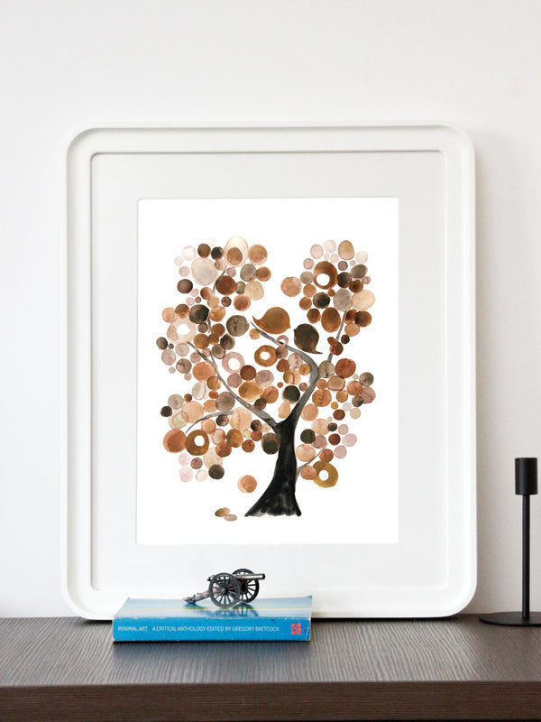 BROWN TREE of LIFE - Giclee Art Print Reproduction of Watercolor Painting - Trees of Life Collection