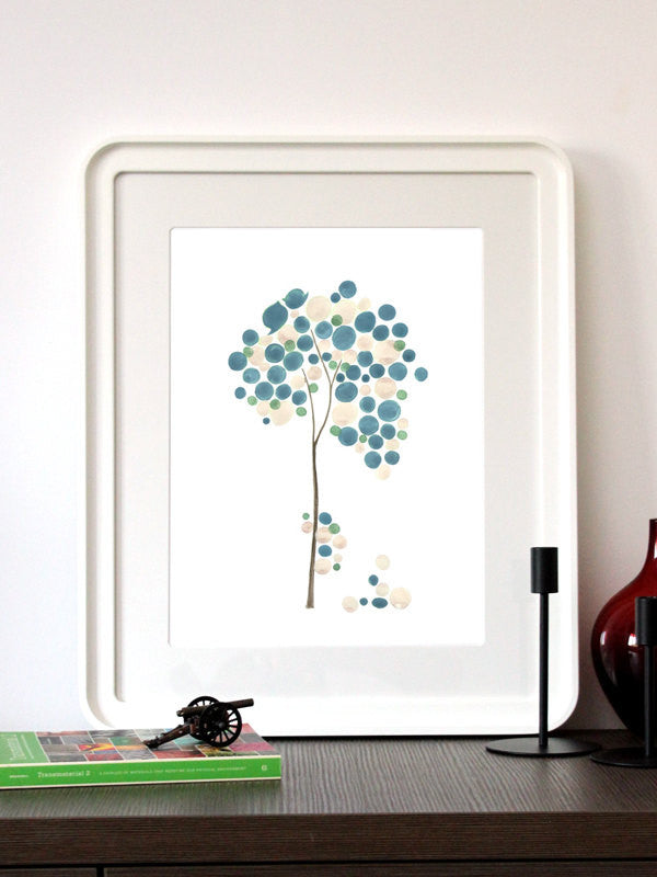 Wedding Gift Anniversary Gift - BLUE IVORY WEDDING - Giclee Art Print Reproduction of Watercolor Painting - Trees of Life Collection