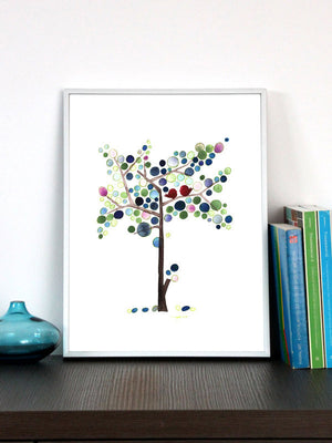 BLUES TALL LOVE BIRDS art print