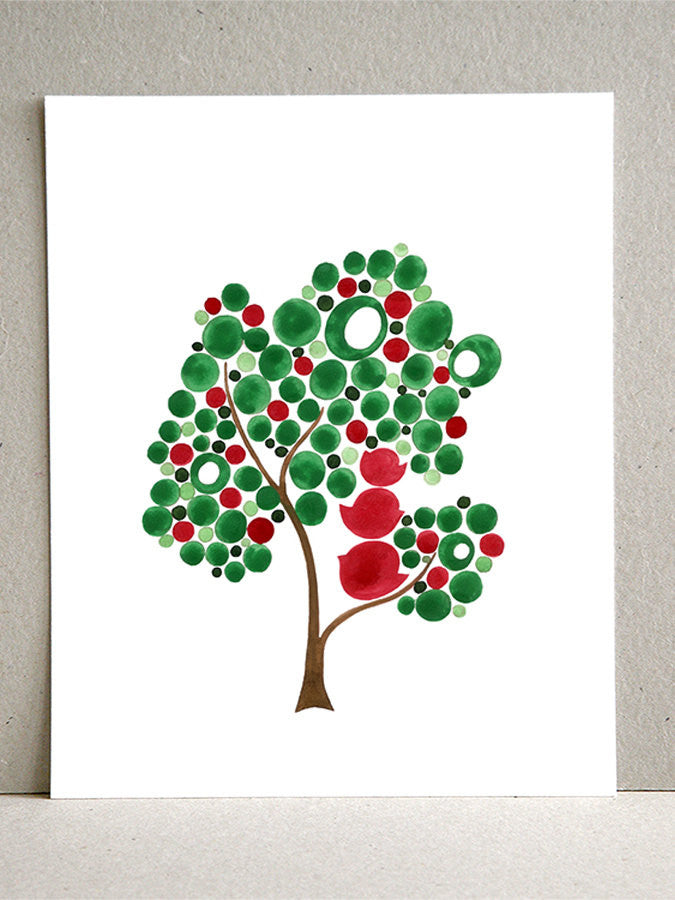 Christmas Eve Family Tree - Giclee Art Print Reproduction of Watercolor Painting - Trees of Life Collection