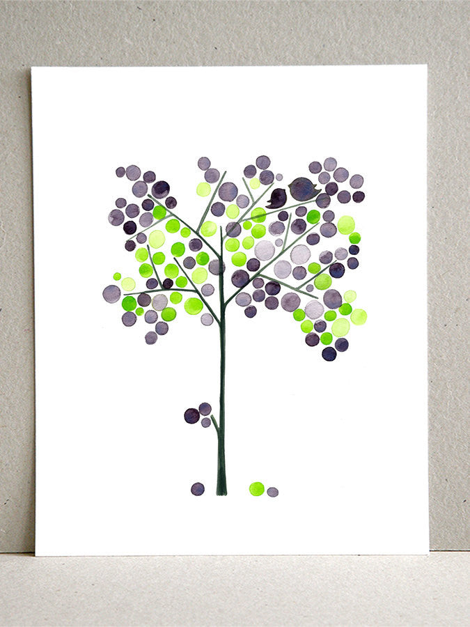 EARLY VIOLETS TREE art print