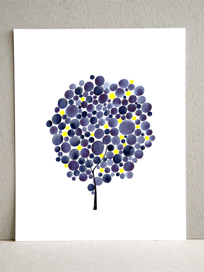 Wedding Gift Anniversary Gift - FIREFLY PURPLE TREE - Giclee Art Print Reproduction of Watercolor Painting - Trees of Life Collection