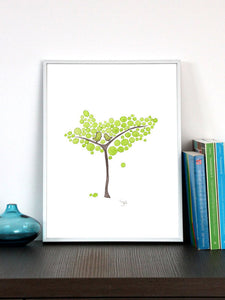 GREEN YOUNG TREE art print