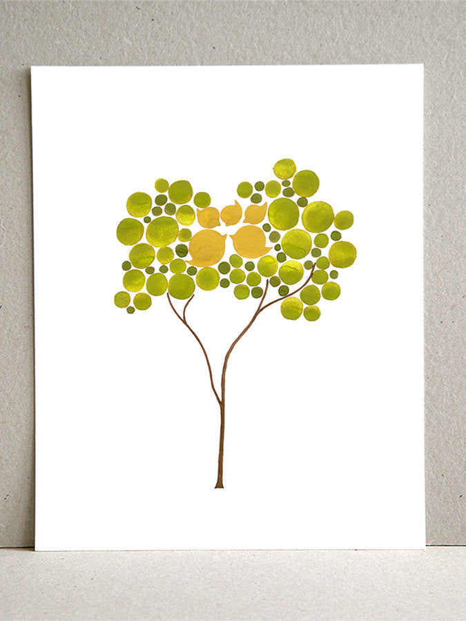 Wedding Gift Anniversary Gift - MUSTARD NEST TREE - Giclee Art Print Reproduction of Watercolor Painting - Trees of Life Collection