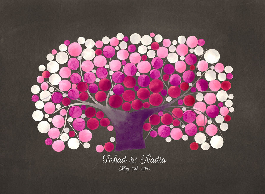 Sakura Wedding Guest Book art print KANZAN CHERRY TREE
