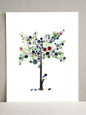 Blues Tall Love Birds Tree - Giclee Art Print Reproduction of Watercolor Painting - Trees of Life Collection
