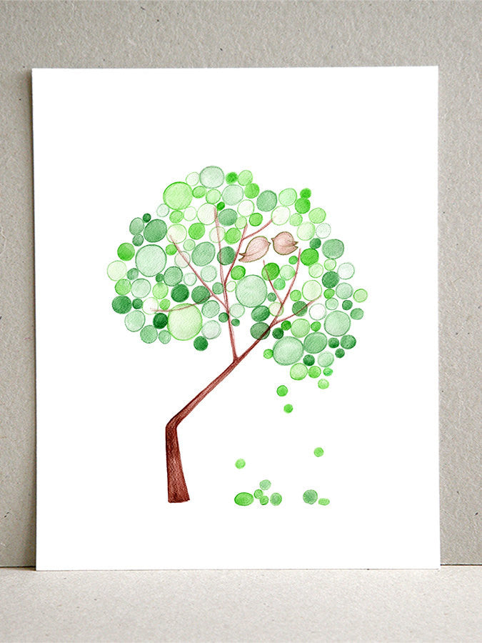 CRANKED BIRDS TREE - Giclee Art Print Reproduction of Watercolor Painting - Trees of Life Collection
