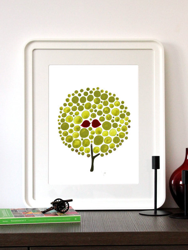 GREEN BALLOON TREE art print
