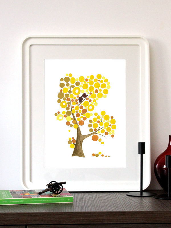 Wedding Gift Anniversary Gift - MUSTARD LOVE BIRDS - Giclee Art Print Reproduction of Watercolor Painting - Trees of Life Collection