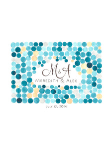 Modern Guestbook Alternative Love Birds Print - Orb Cluster with MONOGRAM