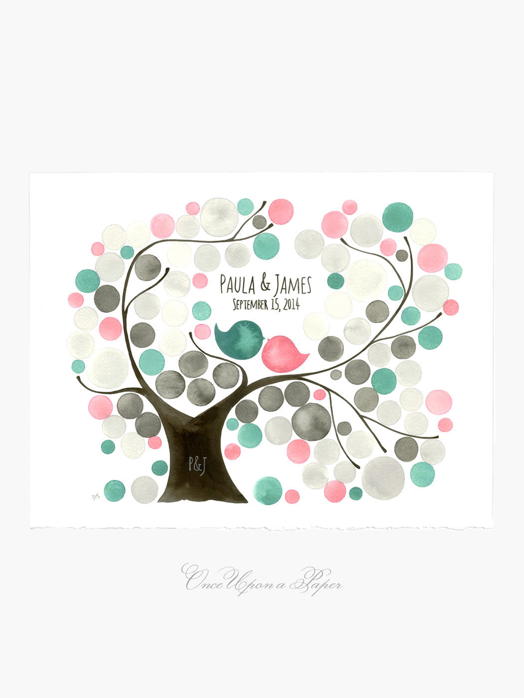 Wedding Guestbook Tree - Oval Garden Tree - Alternative print - 100 guest sign ons