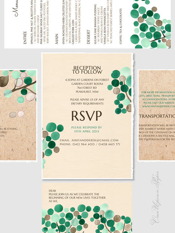 Wedding Card Package DIY Printable Custom - Menu, Save the Date, Wedding Invitations, Thank You Cards - Wedding Invitations Card Package