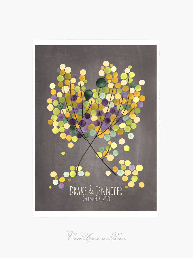 Wedding Guest Book Tree Alternative TWO as ONE - 175 Guest Signatures Custom Wedding Tree Unique Poster Modern Guestbook - Tree of Life