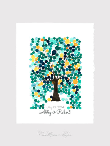 Wedding Tree Guest Book Alternative art print - ANGEL OAK TREE 325 orbs Modern original Guestbook Custom Wedding Guest Book Tree