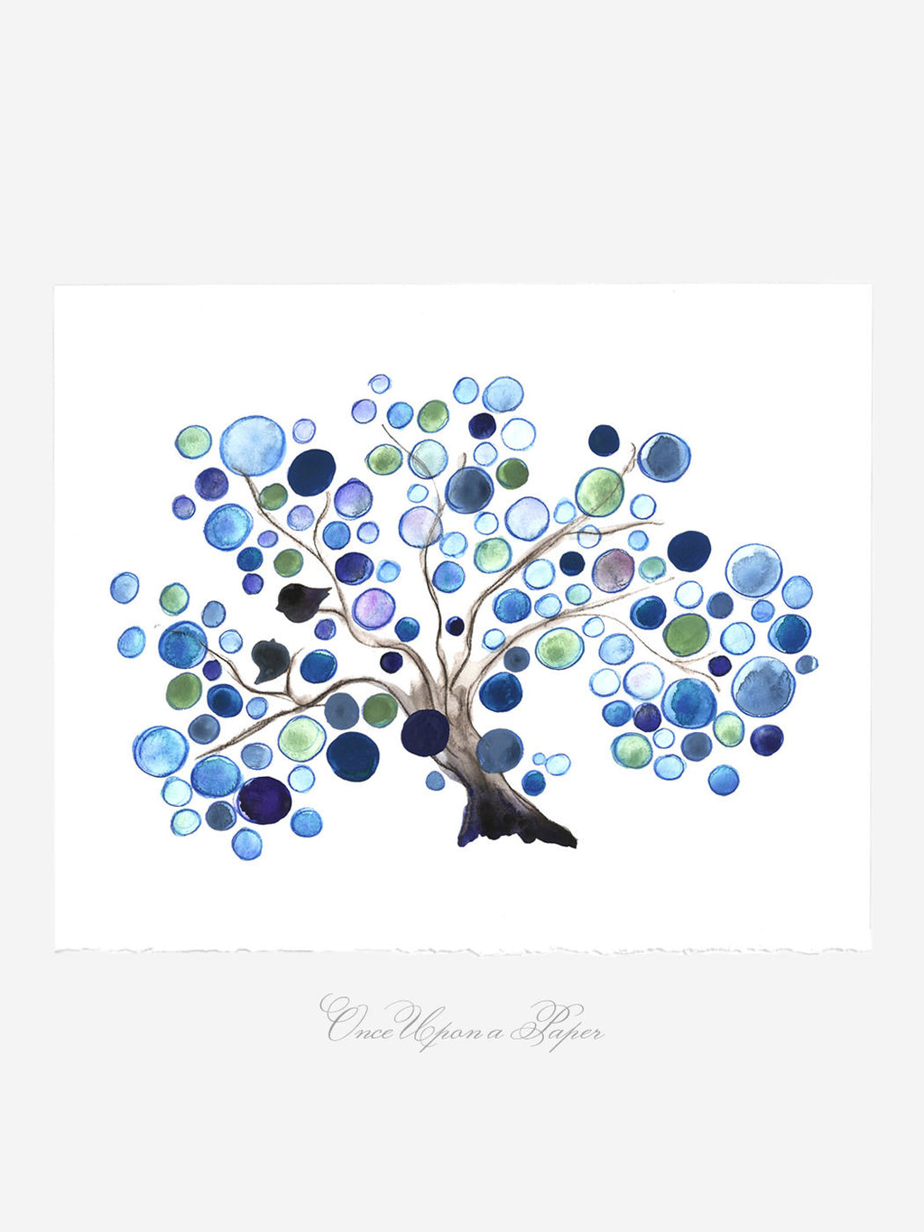 BLUE LAGOON LOVE BIRDS Tree art print