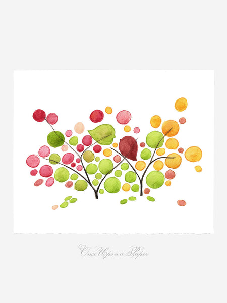 Wedding Gift Anniversary Gift - Eco Love Birds Bush - Giclee Art Print Reproduction of Watercolor Painting -Trees of Life Collection