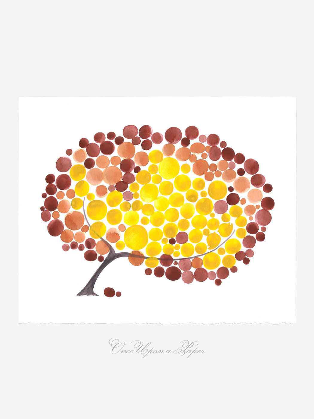 Wedding Gift Anniversary Gift - FIRE FALL TREE - Giclee Art Print Reproduction of Watercolor Painting -Trees of Life Collection
