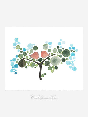 FROZEN HOT LOVE BIRDS TREE art print