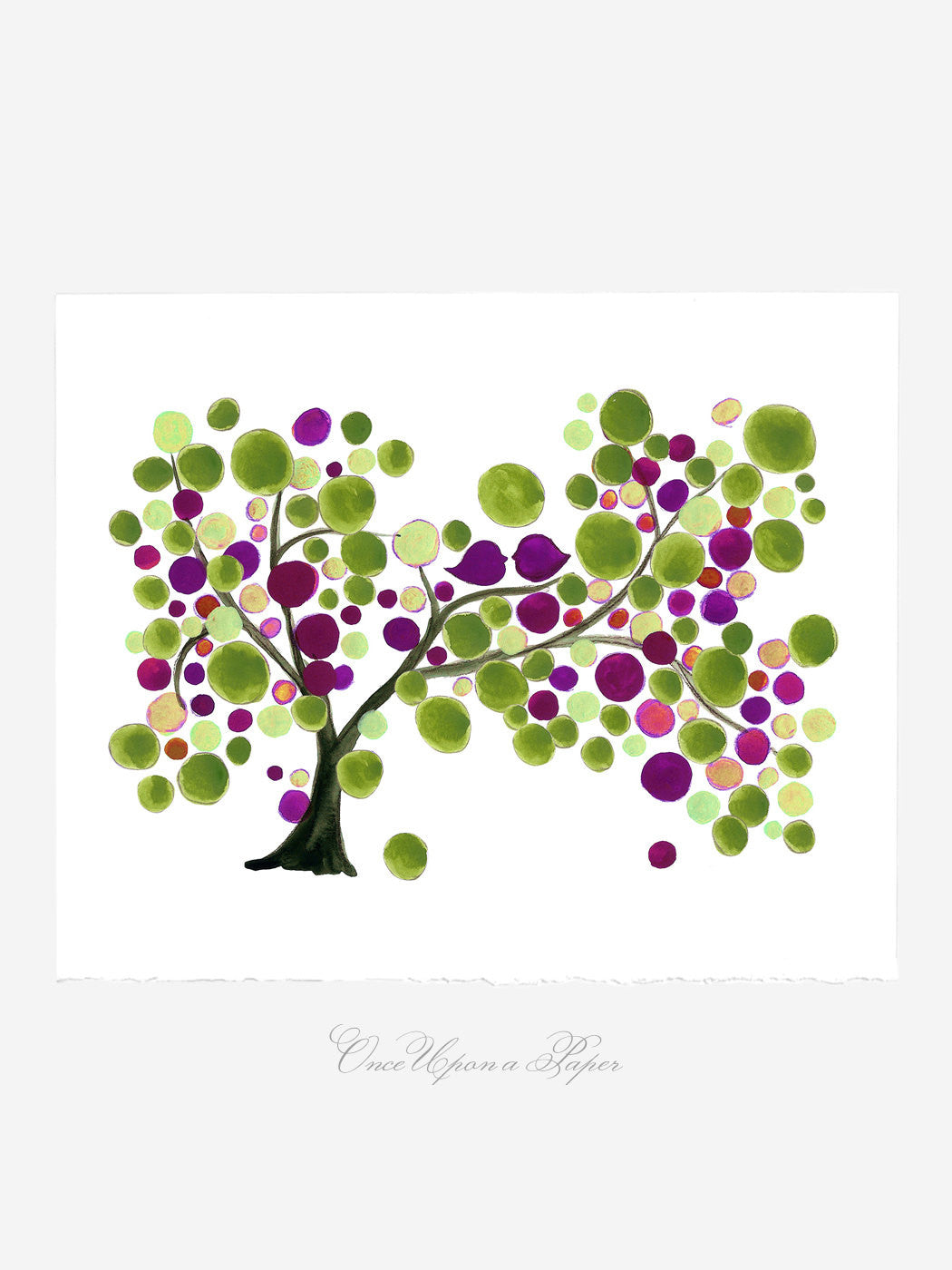 Mother Day Annyversary Gift - Mother Daughter Rich Tree  - Giclee Art Print Reproduction of Watercolor Painting -Trees of Life Collection