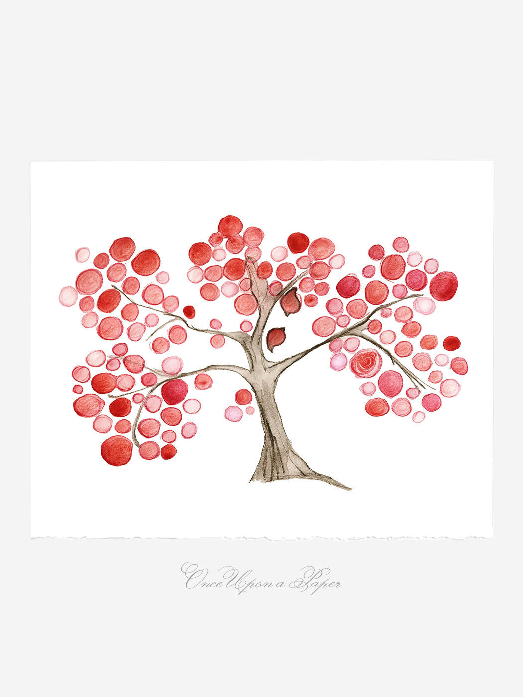 Mother Day Annyversary Gift - I Love my Mommy tree - Giclee Art Print Reproduction of Watercolor Painting -Trees of Life Collection