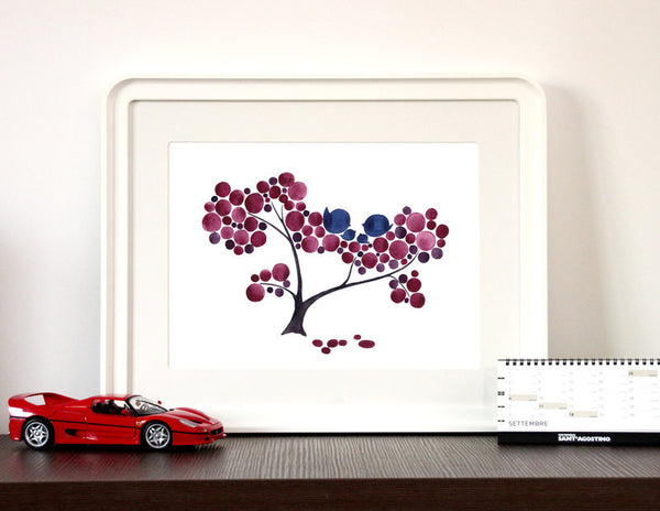 Annyversary Gift - PLUM FAMILY TREE - Giclee Art Print Reproduction of Watercolor Painting -Trees of Life Collection