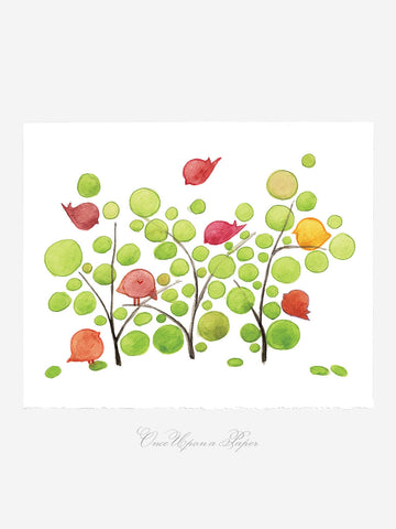 Annyversary Gift - Songs of the birds - Giclee Art Print Reproduction of Watercolor Painting -Trees of Life Collection