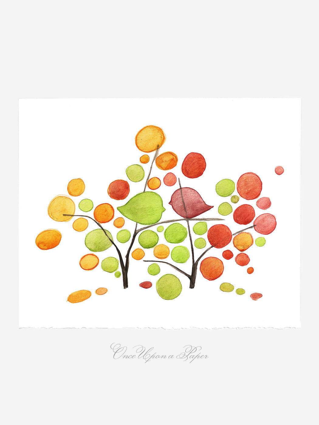 Annyversary Gift - To BIRD with LOVE - Giclee Art Print Reproduction of Watercolor Painting -Trees of Life Collection