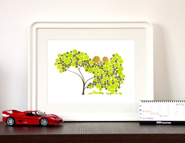 Annyversary Gift - TOUCH DOWN TREE - Giclee Art Print Reproduction of Watercolor Painting -Trees of Life Collection