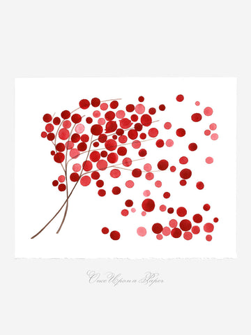 Annyversary Gift - WIND BLOWN POPPIES - Giclee Art Print Reproduction of Watercolor Painting -Trees of Life Collection