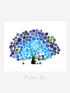 BLUE SKY PEACOCK watercolor art print