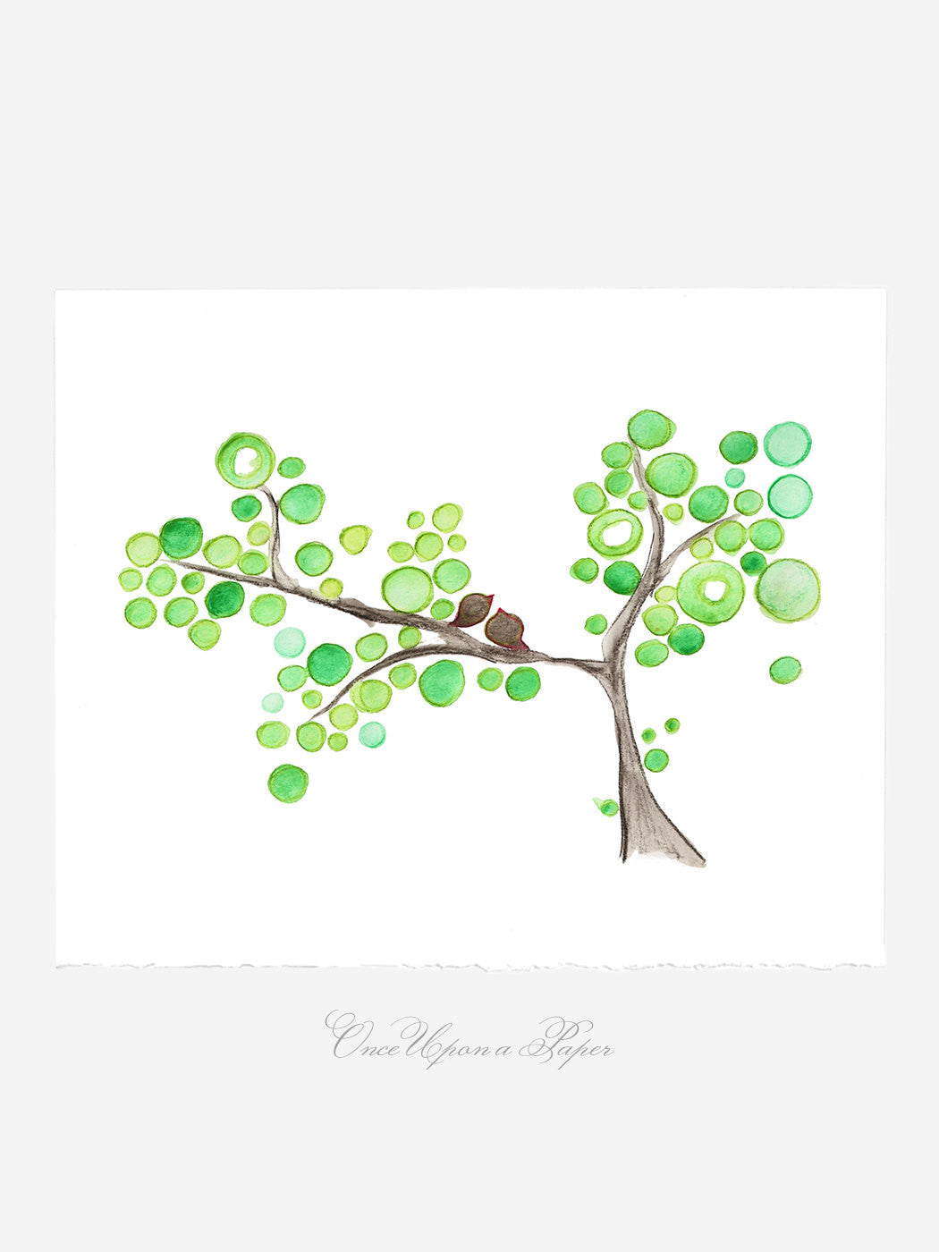 Wedding Gift Anniversary Gift - Early Birds Tree - Giclee Art Print Reproduction of Watercolor Painting -Trees of Life Collection