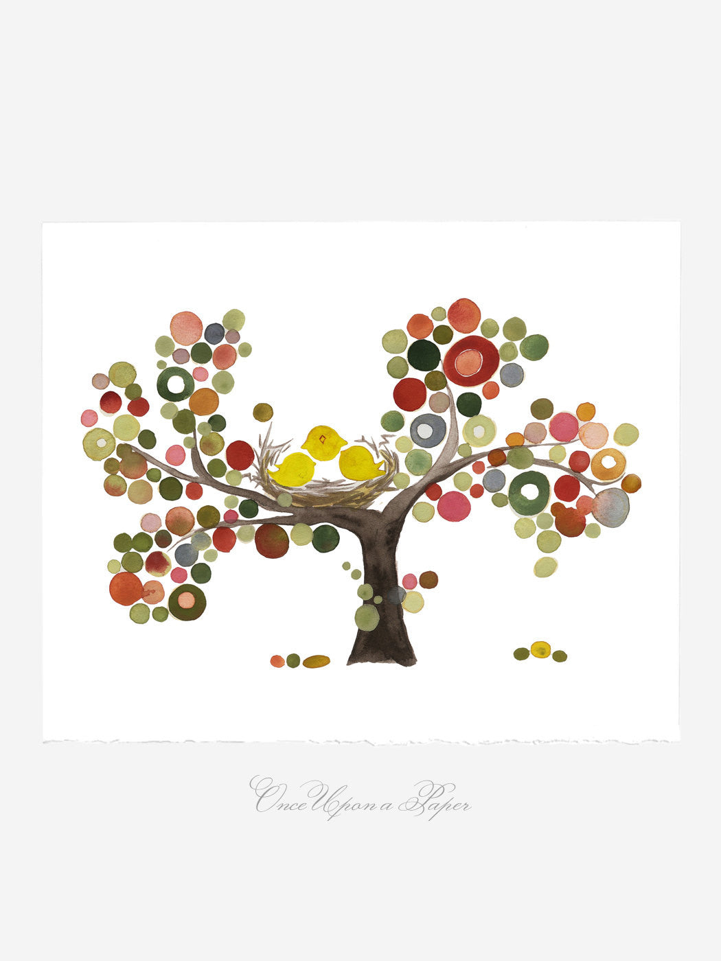 Wedding Gift Anniversary Gift - FAMILY TREE NEST - Giclee Art Print Reproduction of Watercolor Painting -Trees of Life Collection