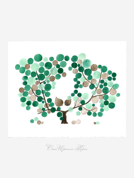 Wedding Gift Anniversary Gift - GREEN PLUM CROWN - Giclee Art Print Reproduction of Watercolor Painting -Trees of Life Collection