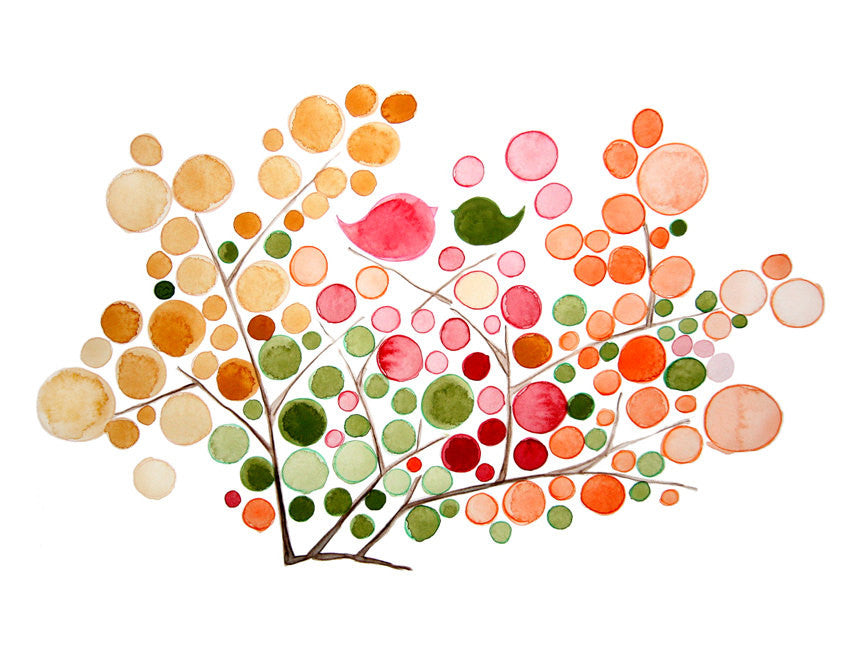 Wedding Gift Anniversary Gift - JELLY BEANS TREE - Giclee Art Print Reproduction of Watercolor Painting -Trees of Life Collection