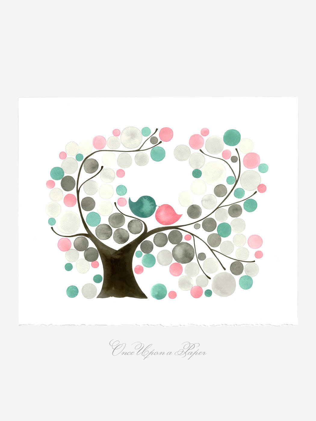 Annyversary Gift - Oval Garden Tree - Giclee Art Print Reproduction of Watercolor Painting -Trees of Life Collection